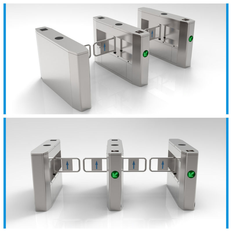 Two Sides Intelligent Swing Barrier Gate Made Of 304 Stainless Steel Material