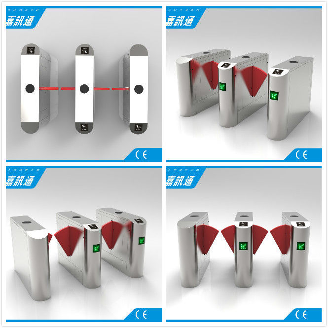 Facial Reader Access Control Flap Gate Barrier Stainless Steel For Entrance